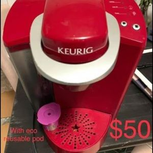 Red Keurig + Reusable Pod